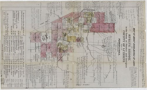 Vintage 1813 Map of Map of about 8000 acres of land on Spring Brook in the towns of Pittston and Covington, County of Luzerne, State of Pennsylvania. Covington, Lackawanna County, Pennsylvania, Pittston Region, Spring Brook, Township, United States