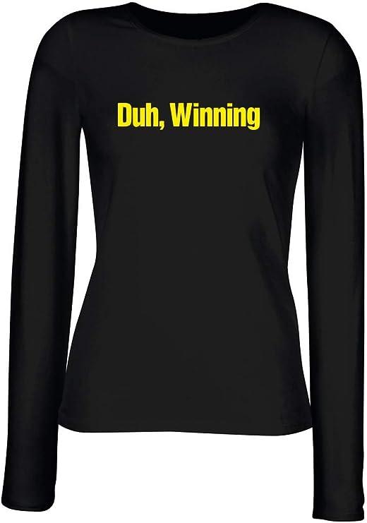 T-Shirt para Las Mujeres Manga Larga Negra FUN0978 Charlie Sheen DUH Winning T Shirt: Amazon.es: Ropa y accesorios