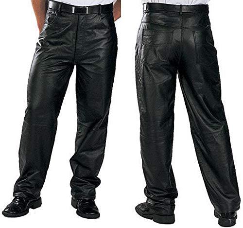 Xelement 860 'Classic' Men's Black Loose Fit Leather Pants - 34