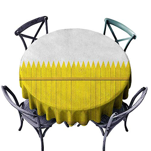 ScottDecor Overlay Round Tablecloth Outdoor Picnics Yellow,Colorful Wooden Picket Fence Design Suburban Community Rural Parts of Country, Yellow Mustard Diameter 60