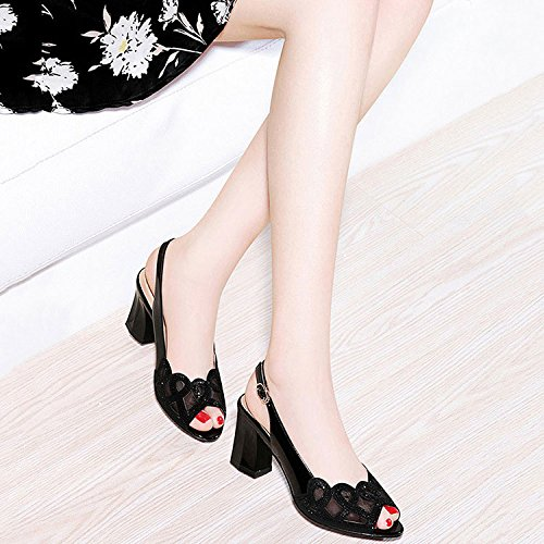 DKFJKI Mode Féminine Talons Hauts Sandales à Mailles Strass Bouton Pression Chaussures de Bal de Bal Noir xAHgF2OkLK