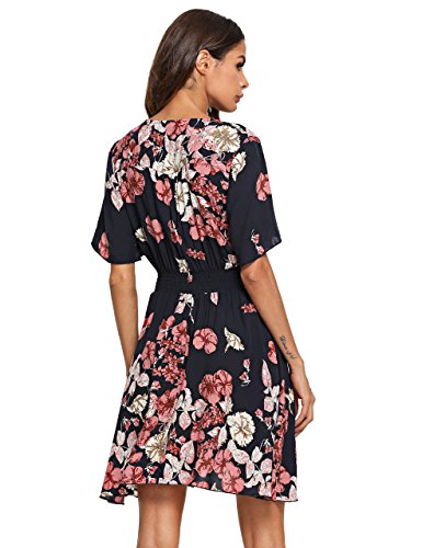 Print Party Boho 8 up Milumia Button Multicolor Floral Flowy Women's Dress Split 4gpxqn