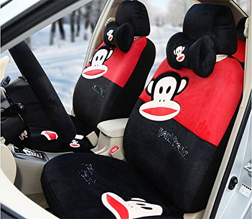Sexy Women Car Seat Covers Soft Plush 18pcs Wholesale Universal Front and Back Seat Covers Car Steering Wheel Cover Neckrest Covers (black+red) by kk