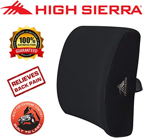 High Sierra HS1415 \ Ergonomic Lumbar Support Pillow \ 100% Pure Memory Foam \ Relieves Painful Pressure Points \ Back Cushion for Office Chair, Car, SUV, Plane \ Fits Most Seats \ Breathable Cover