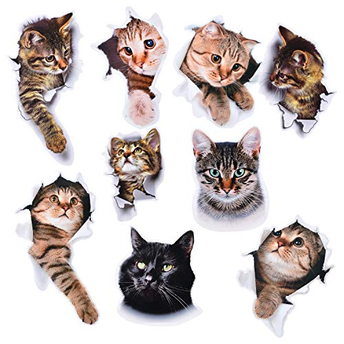 Sunm boutique 3D Cats Wall Sticker, Cat Wall Decals Self-Adhesive with Vivid Cartoon Animals, Removable 3D Wall Stickers Wall Decor for Kids DIY Door Living Room Bedroom, Pack of 9