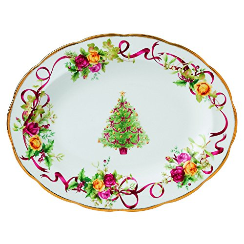 Royal Albert Old Country Roses Christmas Tree Oval Platter, 13-Inch by Royal Albert