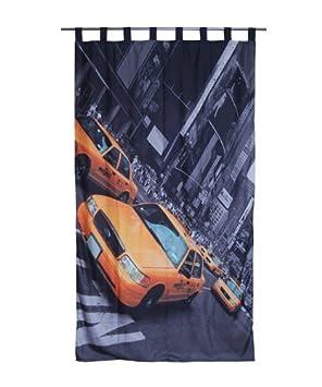 RIDEAU CONTEMPORAIN prêt à poser • Taxi jaune à New York Brooklyn ...