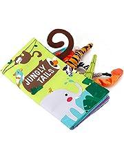Slijtvaste babydoekenboeken, duurzame anti-vervagende aanraak- en voelboeken met kreukelstaart, voor babycadeau peuter(Jungle cloth book)