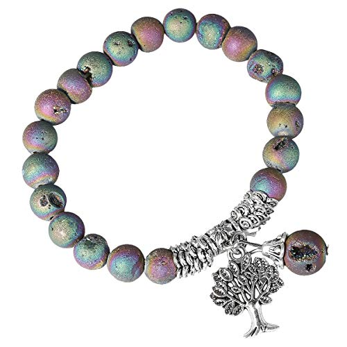 SUNYIK Matte Rainbow Agate Stretch Bracelet, Handmade Tree of Life Lucky Pendant Bracelets for Women 7