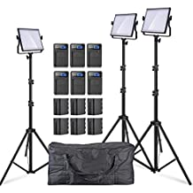 Pergear Lightmate S CRI 96+ 5500K Dimmable 480 Led Video Light Panel with 6600mAh Battery Pack, 2M/6.5ft Light Stand and Carrying Bag - 3 Set