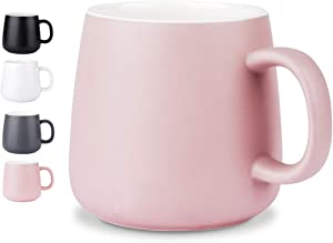 Ceramic Cup,NEWANOVI Smooth Frosted Porcelain Mug, Coffee Mugs, Tea Cup, for Office and Home, Health Gift, Maximum Capacity 12.2oz, Pink