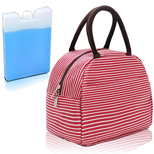 - DIIG Insulated Lunch Bags for Women, Men Packit Freezable Lunch Box with Ice Pack Gift, Reusable Lunch Tote for Work, Stripe Red, Gray, Navy Blue, Brown (Red/White Stripe)