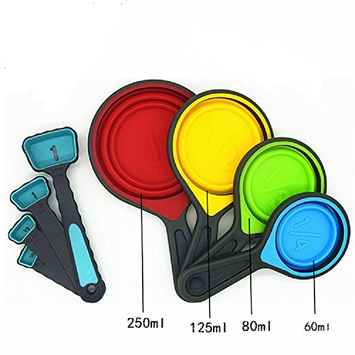 Silicone Collapsible Measuring Cup- 8 pcs Collapsible Food Grade Silicone Measuring Cups and Spoons (Collapsible Cups Set)