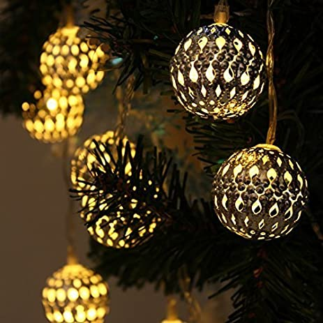 JOJOO 12 LED 12ft Moroccan Solar String Lights Metal Globe Lanterns  Ornament Lights For Garden,