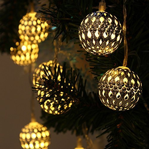 JOJOO 12 LED 12ft Moroccan Solar String Lights Metal Globe Lanterns Ornament Lights for Garden, Wedding, Party, Outdoor and Christmas, Amber LT004 (Amber Amber Solar Lights)
