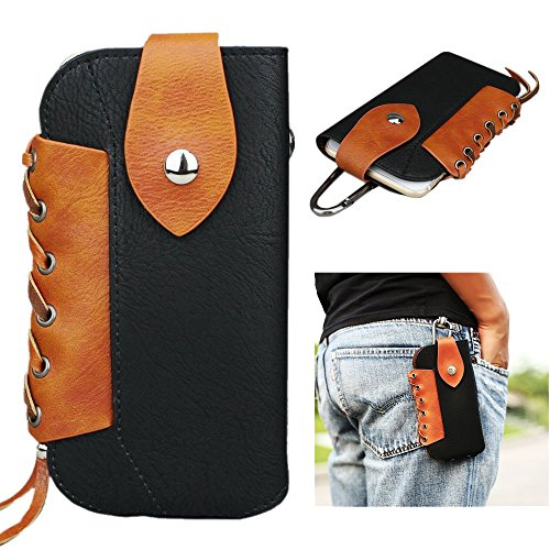 FLOVEME Western Cowboy Style Pouch Magnet Buckle Waist Bag Pack Utility Gadget Belt with Cell Phone Holster Holder for Apple iPhone 4 4s 5 5s 5c SE 6 …