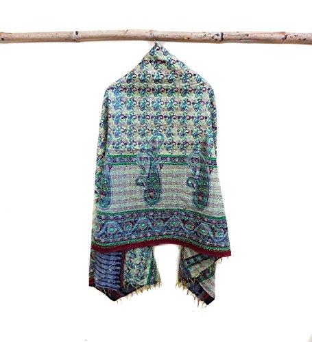 Silk Kantha Scarf Head Wrap Stole veil Hand Quilted Women Bandanas headband