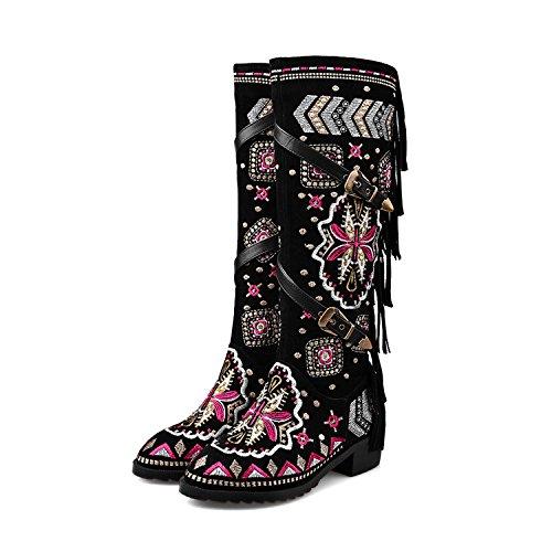 DYF Frauen Stickerei Nude Schuh Stiefel Ferse nationalen Stil rauhe Ferse Stiefel hohe Zylinder Schwarz 43 cb8f15