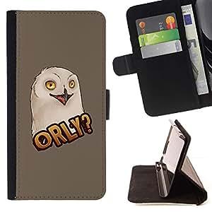 Momo Phone Case / Flip Funda de Cuero Case Cover - Pintura del arte divertido de Big Eyes Aves - Samsung Galaxy E5 E500