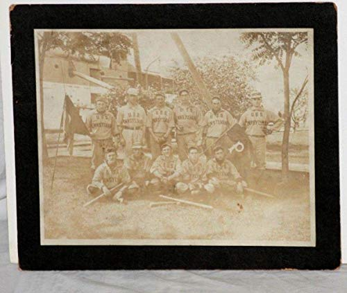 Mlb Unsigned Bats - RARE! Circa 1910's U.S.S. Pennsylvania Baseball Team Photo w/Mushroom Bat - MLB Unsigned Miscellaneous
