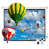 """Cloud Mountain 120"""" 4:3 HD Matte White Projector Screen, Wall Mounted Ceiling Remote Control Motorized Home Theater TV Office Projection Screen, 1.3 Gain"""