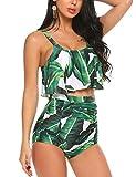 ADOME Womens Leaves Printed Falbala High-waisted Bikini Swimsuit(Green,M)