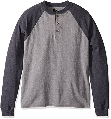 Hanes Men's Long-Sleeve Beefy Henley T-Shirt - Large - Oxford Gray/Slate Heather (Baseball 180)