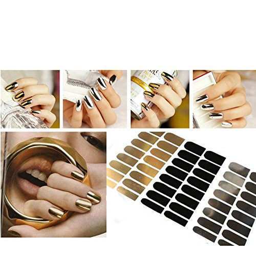 EQLEF® 3 Sheets Nail Art Polish Metallic Foil Sticker Gold Silver black Nail Wrap Glitter