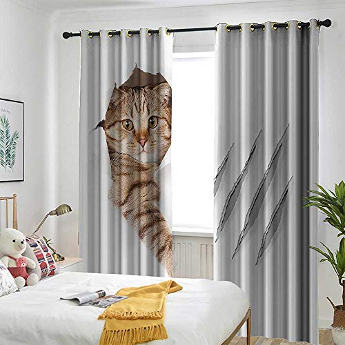 one1love Animal Grommet Curtain Funny Cat in Wallpaper Hole with Claw Scratches Playful Kitten Cute Pet Picture Grommet Curtains for Bedroom 120