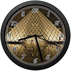 BCWAYGOD Louvre Silent Wall Clock Non Ticking Decorative Wall Clock for Home Office School Battery Operated 10 in