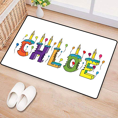 WilliamsDecor ChloePrinted Door matLettering with Cheerful Bitten Cake Candles Girly Birthday Party Design First NameEnvironmental Protection W16 xL24 Multicolor