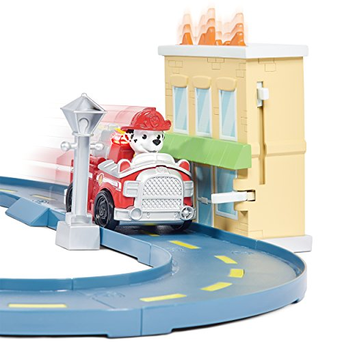 Large Product Image of Paw Patrol Roll Patrol – Marshall's Town Rescue Track Set with Exclusive Motorized Vehicle with Lights and Sounds