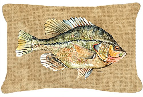 Caroline's Treasures 8808PW1216 Crappie Canvas Fabric Decorative Pillow, Large, Multicolor - Indoor or outdoor pillow from heavyweight canvas material. 100% polyester fabric pillow sham with pillow form. Fade resistant. - patio, outdoor-throw-pillows, outdoor-decor - 51xxAfmq95L -