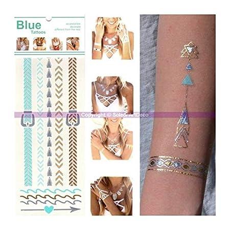 Tatuaje étnico para muñeca o tobillo – Color azul, oro y plata ...