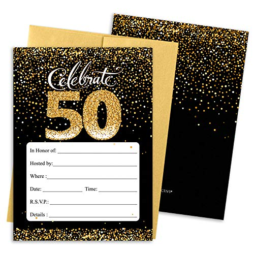 Black and Gold 50th Birthday Party Invitations | 10 Cards with Envelopes