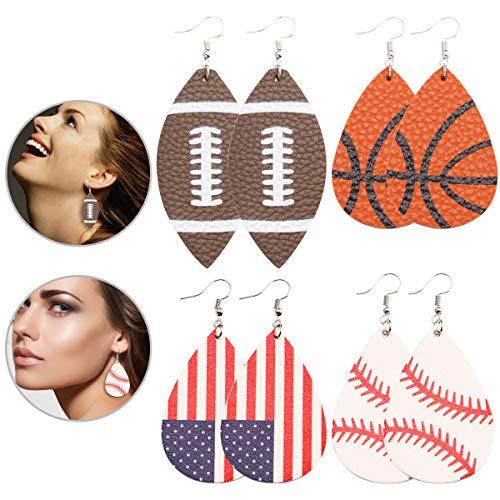(Sport leather earrings for Women Baseball,Basketball,Football Leather Earrings for Sports Lover Lightweight Leather Teardrop Dangle Earrings for)