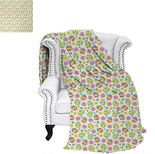 (Summer Quilt Comforter Patchwork Style Graphic Scrapbook Pattern with Daisy Sewing Buttons and Egg Figures Digital Printing Blanket 80