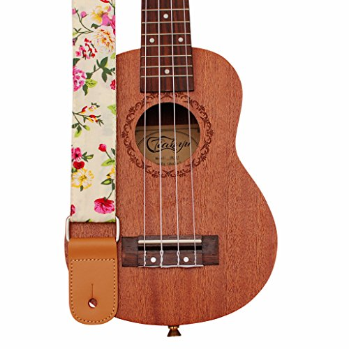 """MUSIC FIRST Original Design """"Rosa Multiflora in Green"""" Soft Cotton & Genuine Leather Ukulele Strap Ukulele Shoulder Strap"""