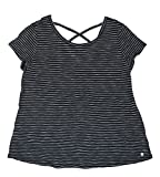 Calvin Klein Performance Womens Striped V-Back T-Shirt Black L