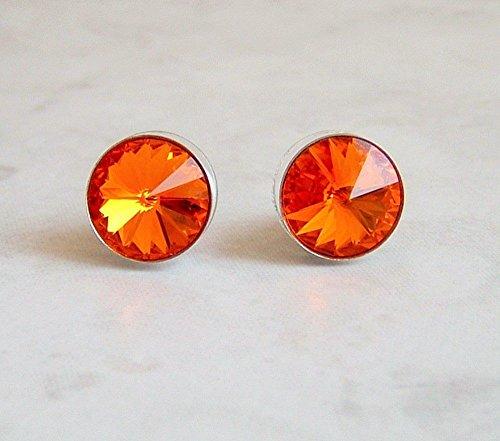 Round Swarovski Crystal Ear Stud Post Earrings Stainless Steel Tangerine Orange Color Gift (Fanta Girl Costume Set)