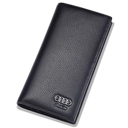 Audi Bifold Long Wallet with 11 Credit Card Slots and ID Window - Genuine Leather