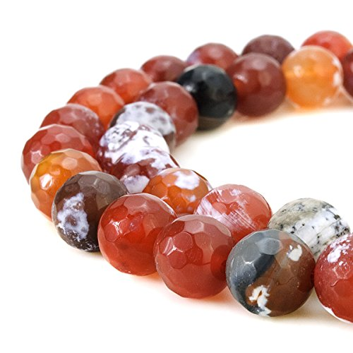 BEADNOVA 8mm Faceted Natural Red Fire Agate Gemstone Gem Loose Beads Approx 16 inch 48~50pcs/Strand for Jewelry Making (Genuine Mm Agate 8)