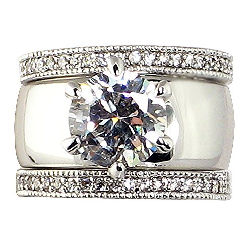 4.28 Ct. Wide Solitaire Round-shaped Cubic Zirconia Cz Bridal Wedding 3 Pc. Ring Set with Eternity Bands (Center Stone Is 2.75 Cts.) (7) ()