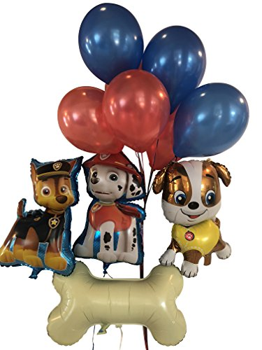 Paw Patrol Birthday Bouquet: Chase, Rubble, Marshall, Giant Dog Bone & 10 latex paw print balloons by Rain (Giant Balloons Party City)