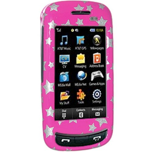 Amzer Stars Snap-On Crystal Hard Case for Samsung Impression A877 - Pink (Case A877 Crystal)