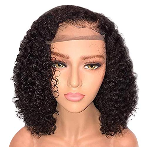 FengGa Brazilian Less Lace Front Full Wig Bob Wave Black Natural Looking Women Wigs Front Wigs Glueless Short Bob Human Hair Wigs Wavy with Baby Hair for Black Women 14inch Short Wavy Lace Wigs ()