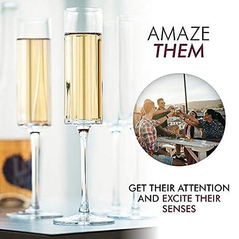 Champagne Flutes, Edge Champagne Glass Set of 4 – Modern & Elegant for Women, Men, Wedding, Anniversary, Christmas…