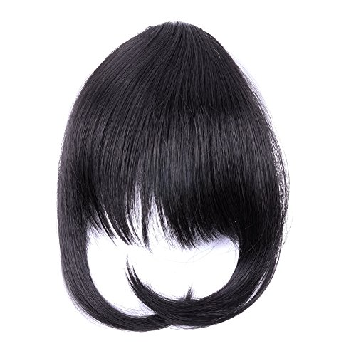 Dark Silver China (Ty.Hermenlisa Synthetic Clip in Hair Bang Extensions Heat Resistant Short Straight Fringe Hairpiece Accessory, 1Pc, 20g, Taylor-Dark Brown (#2))