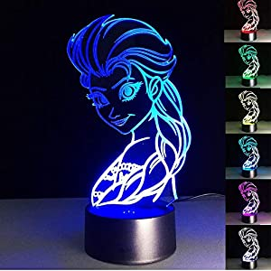 3D Optical Illusion Night Light,Pricess 7 Color Changing LED Lamp Desk Table Lamp Home Decoration Birthday Xmas Gifts for Kids