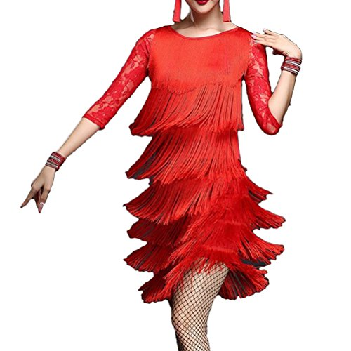 Zhuhaitf Womens Fringe Lace Dance Dress Latin Deco Tassel Charming Party Costume